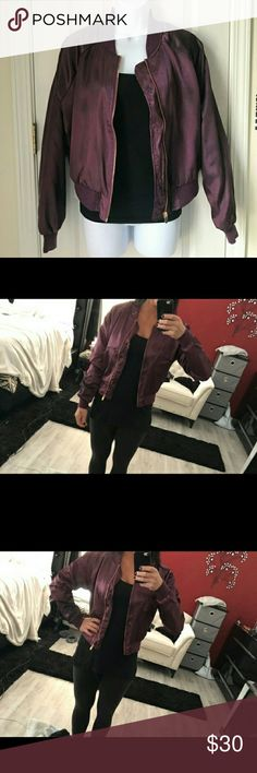 """BEAUTIFUL PLUM PURPLE BOMBER JACKET! New with tags NWT!  Never worn.  This beautiful lined satin bomber jacket fits beautifully at the waist because of the elastic band.  Laying flat the chest measures 18"""", a 36 inch chest. See pictures...you'll love this jacket! Charlotte Russe Jackets & Coats"""
