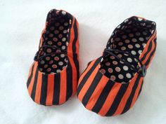 Polka dot and stripe mary jane ballet flats by SweetAnnMaries, $22.00