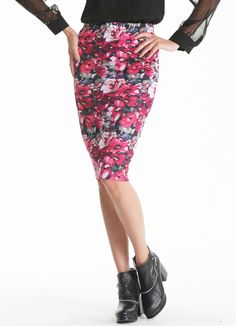 Red Florals Print Bodycon Skirt 23.50