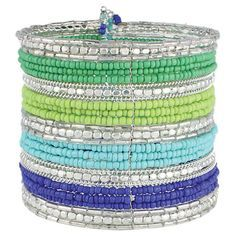 Silver cuff bracelet with blue and green beading. So fun!