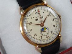 Nacar Triple Date Moonphase Moonphase Watch, Watch Service, Moon Phases, Vintage Watches, 1940s, Omega, Dating, Accessories, Luxury Watches