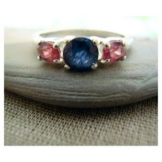 Sleeping Beauty - Genuine Sapphire & Garnets - OOAK Alternative Engagement - Unique Wedding Ring