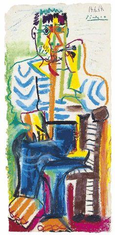 """dead-molchun: """"Pablo Picasso (1881-1973) Le Fumeur Assis 1964 (51,5 x 24,5 cm) """""""