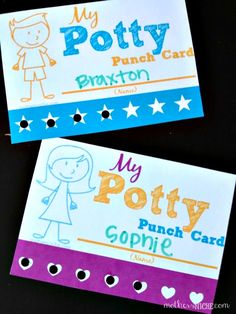 Free Potty Punch Card. Perfect for motivating success!