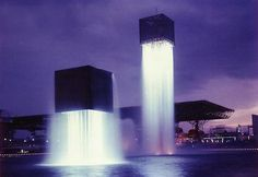 Floating fountain in Osaka by Isamu Noguchi (1970) #publicfountain #osaka #japan #isamunoguchi