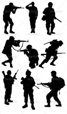 Buy Soldier Silhouettes by on GraphicRiver. Soldier Drawing, Army Drawing, Military Drawings, Military Tattoos, Soldier Silhouette, Silhouette Art, Military Art, Military Love, Independence Day Drawing