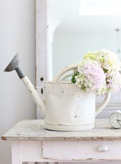 White Flower Farmhouse Watering Can