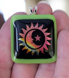 Sun/Moon/Star Dichroic Fused Glass Pendant by StaceyLeighDesigns, $15.00