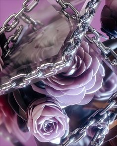 flowers with chains in front of glass by AvantForm Contributor fvckrender 3 D, 3d Art, Vancouver, Art Inspo, Amethyst, Digital Art, Animation, Rock, Crystals
