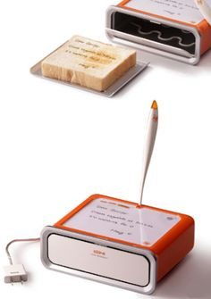 Toast Messenger. Write notes on your toast!! I just love funny toast.