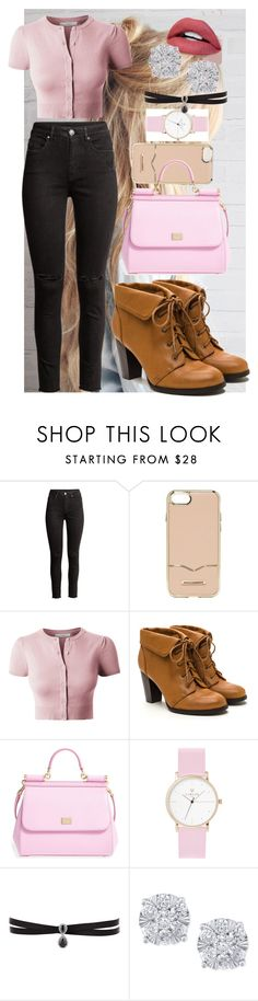 """""""pink black and brown"""" by anna-bigsis ❤ liked on Polyvore featuring Rebecca Minkoff, LE3NO, Dolce&Gabbana, Laruze, Fallon and Effy Jewelry"""