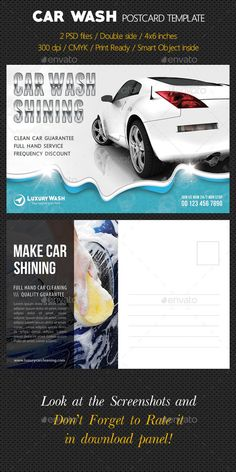 Car Wash Postcard Template — Photoshop PSD #services #car wash • Available here → https://graphicriver.net/item/car-wash-postcard-template/10278307?ref=pxcr
