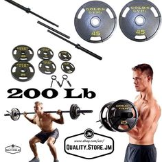 Olympic Weights Set 200 Lb Pounds With Bar And Plates Home Gym Equipment Workout #GoldsGym