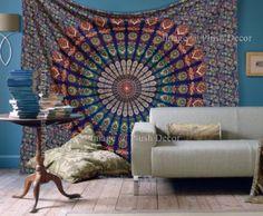 Mandala Tapestry Wall Tapestries Hippy Throw Cotton Handmade Bohemian Wall Hanging Psychedelic Bedsheet Queen Bedspread Wall Art Beach Throw Sheet