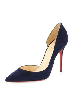 S0BBZ Christian Louboutin Iriza Half d'Orsay Suede Red Sole Pump