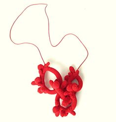 Crochet Necklace inspired by Red Coral. by LidaAccessories on Etsy, $60.00