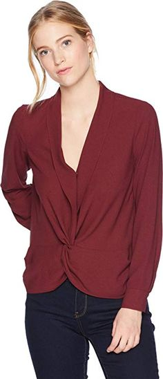 111ef8252478 State Women s Long Sleeve Twist Front Blouse Rich Chianti X-Small