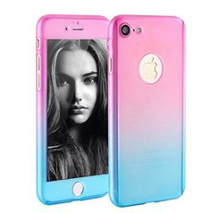 iPhone 7 Plus 55 Inch Full Body Hard CaseAuroralove 360 Degree Full Protective Slim Sleek Front Back Case for iPhone 7 Plus 55 Inch with Tempered Glass Screen ProtectorPinkBlue ** Be sure to check out this awesome product.