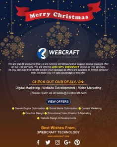 #Christmas & #New_Year Offers 2019 | Upto 50% Off On #Web_Services ! Offers Start From #Today Onwards!! Christmas #Special_Festive Limited Deals Only @3webcraft.com Digital Media Marketing, Digital Marketing Services, New Year Offers, Christmas And New Year, Festive