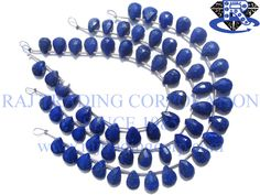 Lapis Lazuli Faceted Pear (Quality AAA) Shape: Pear Faceted Length: 18 cm Weight Approx: 10 to 12 Grms. Size Approx: 7x9 to 8x10.5 mm Price $17.62 Each Strand