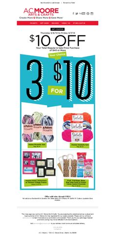 AC Moore - $10 Off Your Next $40 Purchase + All Good Things Come In Three's!