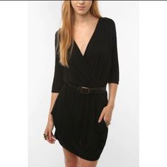 Black Wrap Dress With Pockets