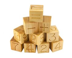 12 natural handmade wooden toy Math Blocks, educational numbers, two-sided engraved numbered blocks, counting blocks