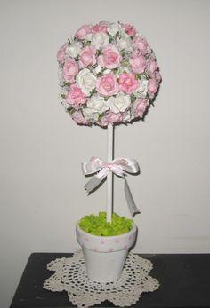 topiario arbolito grande flores de papel 40 cm shabby chic