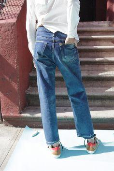 Denim - Slouchy Boyfriend Cut, Ankle Length | mnzstore | taylorsterlingloves, via peone