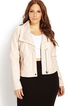 City-Chic Faux Leather Jacket | FOREVER21 PLUS - 2000140219 in black