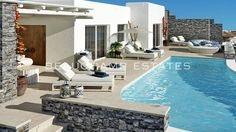 Villa Aida is a spacious villa of exceptional character, ideally located in Agios Ioannis area, with stunning sea and sunset views over the bay, and a privat. Luxury Villa Rentals, Mykonos, Luxury Travel, Greece Holidays, Outdoor Decor, Outdoor Living, Private Pool, Villas, Living Rooms