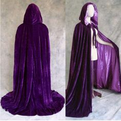 Purple Lined Purple Velvet Cloak Cape Wicca by Cosplay1888