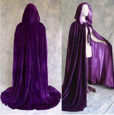 Purple Lined Purple  Velvet Cloak Cape Wicca by Cosplay1888