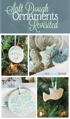 Beautiful Easy Salt Dough Ornaments - great for kids! instead of salt dough I'd use store-bought or baking soda dough, but I love the idea of using ink on stamps to give it color