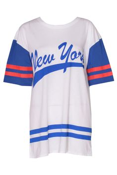 Aubrey Oversized Varsity Style New York Tee in White at Pop Couture