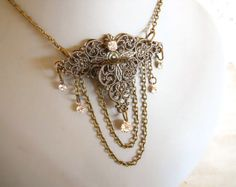 Tea Party hostess necklace Antique Brass Victorian by EJPcreations, $48.00