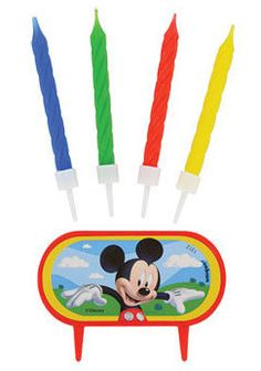 Mickey Mouse Clubhouse Cake Decoration With 8 Birthday Candles & Holders by ElsaPartySupply on Etsy