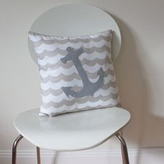 Anchor Throw Pillow Cover, Nautical Sailor, made to fit a size 18 (40 cm) insert on Etsy, $35.00 AUD