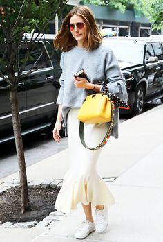 Olivia Palermo Ed Midi Skirt With Oversize Sweater And Sneaks Outfit