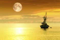 Sailboat and full moon by Sasin Tipchai on 500px
