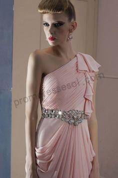 Pink One-shoulder Beads Ruched Chiffon A-line Floor-length Formal Bridesmaid Dress BO982