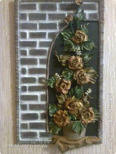 Картина панно рисунок Аппликация Моделирование конструирование розы Кожа фото 1