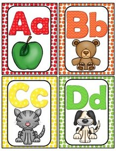 Here is a cute set of Alphabet cards for your classroom. They can be used as flash cards or word wall headers. The pictures are inviting and your students will enjoy using them to help them with letter sound recognition. I have also included a mini Alphabet Wall Cards, Alphabet Words, Alphabet Pictures, Alphabet Charts, Alphabet For Kids, Alphabet Activities, Preschool Activities, Alphabet Flash Cards, Printable Alphabet Letters