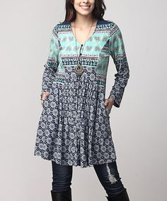 Look what I found on #zulily! Blue Floral V-Neck Side-Pocket Tunic - Plus #zulilyfinds