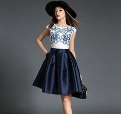 Retro Sleeveless Navy Blue Swing Dress