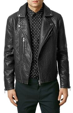 Topman Faux Leather Biker Jacket available at #Nordstrom