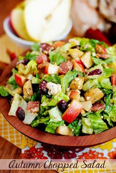 Autumn Chopped Salad highlights delicious fall flavors like pears, apples, roasted peanuts, and dried cranberries. | iowagirleats.com