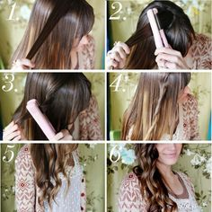 DIY hairstyle..  Curls with the flat iron