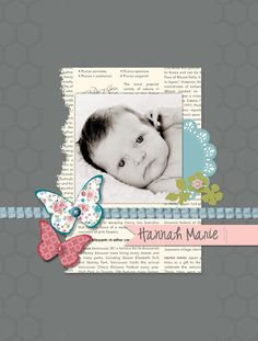 Great idea using newsprint or old book pages in layouts. Something that goes w/photo, like your child's favorite book. layout by Rochelle Gould