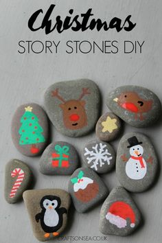 Christmas Rock Painting Ideas for Kids These DIY Christmas story stones are super simple to make and your kids will have great fun creating Christmas stories with this craft. Christmas Activities, Christmas Crafts For Kids, Diy Christmas Gifts, Christmas Projects, Holiday Crafts, Christmas Ornaments, Christmas Ideas, Ornaments Ideas, Homemade Christmas